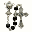 5mm Black Wood Beads and Chalice Center Rosary