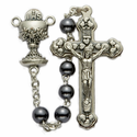 5mm Imitation Hematite Beads and Chalice Center Rosary