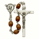 5x 7mm Brown Wood Beads and Madonna Center Rosary