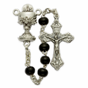 4mm Black Wood Beads and Chalice Center Rosary