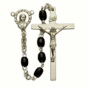 5x 7mm Black Wood Beads and Madonna Center Rosary