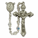 4mm Tin Cut Crystal Beads and Miraculous Center Rosary