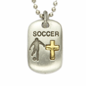 "Lead Free Pewter Soccer Dog Tag on 24"" Stainless Steel Chain"