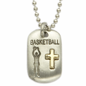 "Lead Free Pewter Basketball Dog Tag on 24"" Stainless Steel Chain"