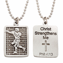 "Lead Free Pewter Football Dog Tag on 24"" Stainless Steel Chain"