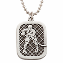 "Lead Free Pewter Ice Hockey Dog Tag on 24"" Stainless Steel Chain"