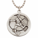 "Lead Free Pewter Soccer Dog Tag on 22"" Stainless Steel Chain"