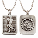 "Lead Free Pewter Football Dog Tag on 22"" Stainless Steel Chain"