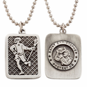 "Lead Free Pewter Lacrosse Dog Tag on 22"" Stainless Steel Chain"