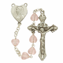 6mm Pink Heart Glass Beads and Madonna Heart Shaped Center Rosary