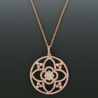 "1-1/2"" Diameter Pave Crystal CZ Stones Rose Gold Plated Pendant"