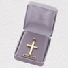 14K Gold Polished Outer Satin Inner Cross