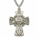 """Sterling Silver Hand Engraved Antiqued Four Way Medal Necklace on 18"""" Chain"""