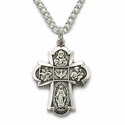 """Sterling Silver Engraved Antiqued Four Way Medal Necklace on 18"""" Chain"""