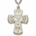 """Sterling Silver Engraved Satin Four Way Medal Necklace on 24"""" Chain"""
