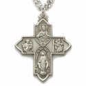 """Sterling Silver Hand Engraved Antiqued Four Way Medal Necklace on 24"""" Chain"""