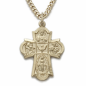 """14K Gold Filled Hand Engraved Four Way Medal Necklace on 18"""" Chain"""