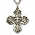 "Sterling Silver Antiqued Hand Engraved Four Way Medal Necklace with Centered Cross on 24"" Chain"