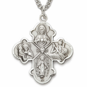 """Sterling Silver Engraved Polished Four Way Medal Necklace on 24"""" Chain"""