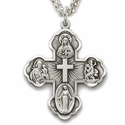 """Sterling Silver Antiqued Hand Engraved Four Way Medal Necklace on 24"""" Chain"""