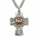 "Sterling Silver Engraved Red Enameled Four Way Medal Necklace with Centered Dove on 18"" Chain"