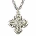 "Sterling Silver Satin Engraved Antiqued Four Way Medal Necklace on 18"" Chain"