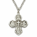 """Sterling Silver Engraved Antiqued Satin Four Way Medal Necklace on 18"""" Chain"""