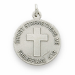 "Sterling Silver Boy's Lacrosse Medal with Cross on Back on 20"" Chain"