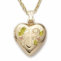 "Sterling Silver 14K Gold Finish Heart Locket with Floral and Etched Cross Design on 18""  chain"