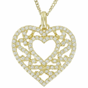 "Sterling Silver 14K Gold  Plated Filigree Heart Necklace on 18"" Gold Plated Chain"