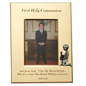 "5"" x 7"" First Holy Communion Gold Plated Metal Photo Frame with Kneeling Boy"