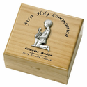 Personalized Boy First Holy Communion Maple Wood KeepSake Box