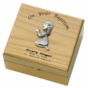 Personalized Baby Girl Baptism Maple Wood Keepsake Box