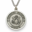 Men's Sterling Silver Army Medal, Cross on Back