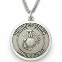 Men's Sterling Silver Marines Medal, Cross on  Back