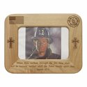 "8"" x  6"" Fire Fighter Laser Engraved  Maple Wood Photo Frame"