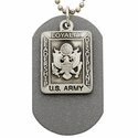 Fine Pewter  U.S. Army Military Dog Tag with Saint Micahel on Back