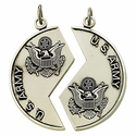 Sterling Silver Army Mizpah Medal Necklace with Genesis 31:48   on Back