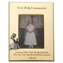 "5"" x 7"" First Holy Communion Gold Plated Metal Photo Frame with Kneeling Girl"