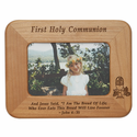 "8 1/2"" x  6 1/2"" First Holy Communion Laser Engraved Maple Wood Photo Frame"