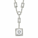 Sterling Silver Square CZ Stone Crystal Necklace