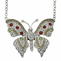 Sterling Silver Butterfly Necklace set with Multiple Colored CZ Stones