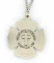 "Sterling Silver Fireman Shield Medal with Cross on Back on 24"" Chain"