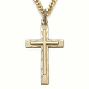 """Sterling Silver 14K Gold Finish Cross on Cross Design with 24"""" Chain"""