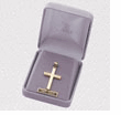 """14K Gold Over Sterling Silver  Cross Necklace in Diamond Engraved Design on 18"""" Chain"""