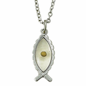 Sterling Silver Fish Necklace with Mustard Seed