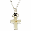 Silver Plated Cross Necklace with Mustard Seed