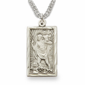 "Sterling Silver Engraved Rectangle St. Christopher Medal on 20"" Chain"