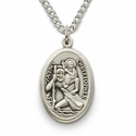 "Sterling Silver Engraved Oval St. Christopher Medal on 18"" Chain"