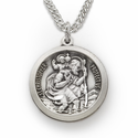 "Sterling Silver Round Engraved St. Christopher Medal on 20"" Stainless Steel Rhodium Finish Chain"